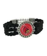 Louisville Cardinals Multi Braided Black Leather Crystal Bracelet Jewelr... - $12.65