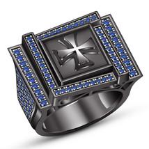 Black Gold Finish 925 Sterling Silver Blue Sapphire Christian Cross Men'... - $172.59