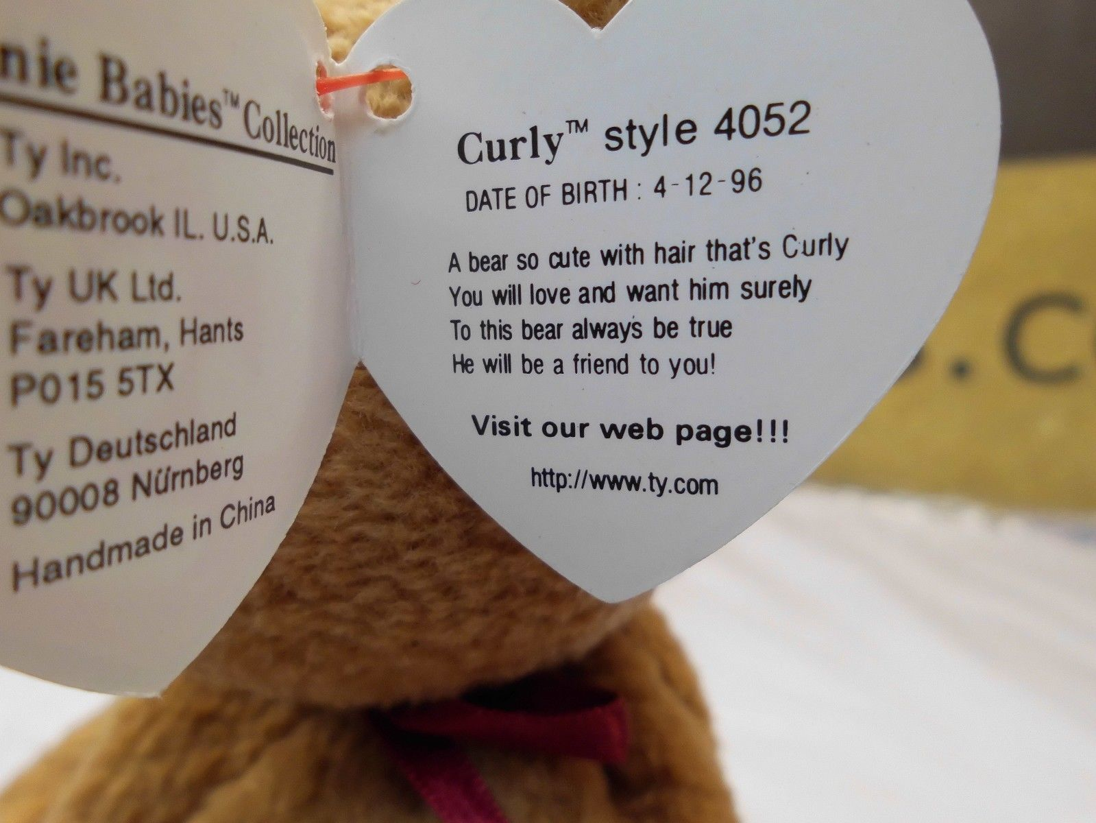 Rare Ty Beanie Babies Curly, Double Tush Tag and other errors image 6