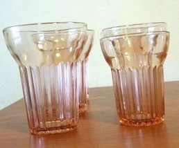 "Pink Depression Glass Juice or Drinking Glasses Set Of 6  5-5"" Tall & 1-... - $29.70"
