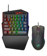 Portable LED One Hand Game 35 Keys Keyboard&USB Wired Mouse for PC/Xbox ... - $47.37