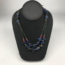 "64.8g, Lapis & Green Nephrite Jade Multi-Strands Beaded Necklace, 22"",NPH74 - $8.00"