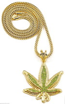 Green Leaf New Rhinestone Pendant Pot Necklace with Chain Hip Hop Weed Cannabis - $34.75+