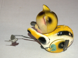 Vintage Tin Cat Butterfly Catcher Metal Toy Wind Up Spring MASUDAYA Japan 1960's image 8