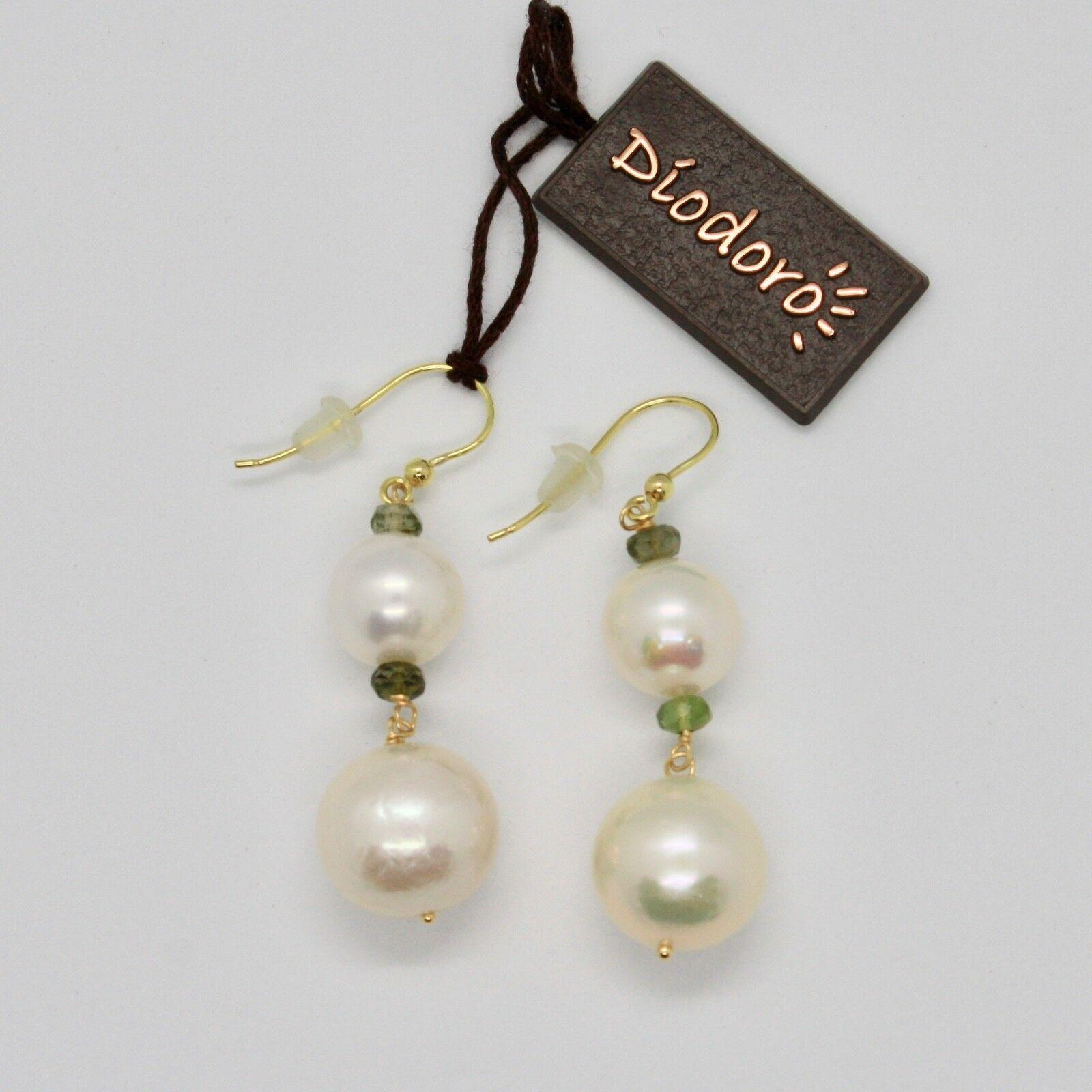 Boucles D'Oreilles en or Jaune 18k 750 Perles Eau Douce Tourmalines Vert