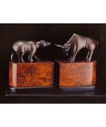 Bookends bull bear bronzed brass wall street new Bey Berk - $114.95
