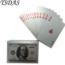 Silver Playing Cards Colored US 100 Dollar Plastic Playing Cards For Fun - $9.50