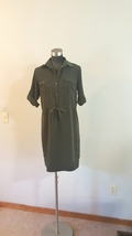 Mossimo Olive Army Green Collar Shirt Dress Size Small Flawed  - $10.00