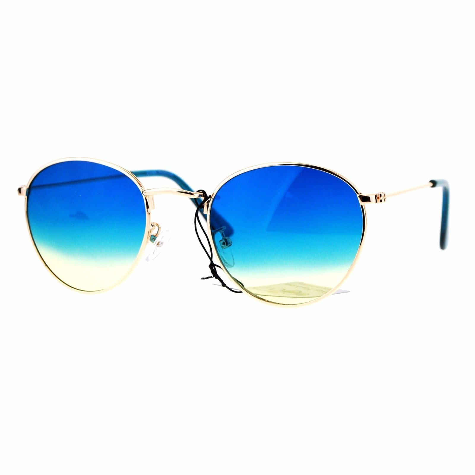 6ef39d2187 Gold Round Oval Frame Sunglasses Ombre and 50 similar items. 57
