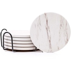 Drink Coaster Set (6pc), Classy White Marble Design, Cork Back With Holder - $14.95