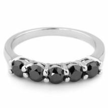2.30 Carat Black Diamond 5 Stone Wedding Anniversary Band Ring 14k White... - $645.00