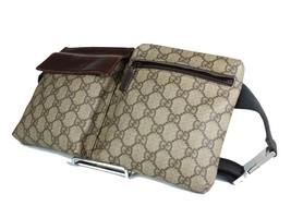 Authentic Gucci GG Pattern PVC Canvas Leather Browns Waist Belt Bag GW1960 - $369.00