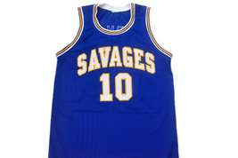 Dennis Rodman #10 Oklahoma Savages Men Basketball Jersey Blue Any Size image 4