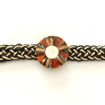 BLACK WHITE LEATHER WOVEN TIE ON FRIENDSHIP BRACELET WITH ABALONE AND CORAL DISC image 2