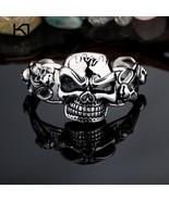Punk Skull Cuff Bangle Gothic 316 Stainless Steel Huge Heavy Skull Charm... - $34.17