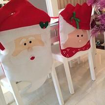 UHeng 2 PCS Mr & Mrs Santa Claus Christmas Dinner Decor Red Hat Chair Ba... - $18.18