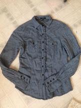 GAP Sz Small Western shirt Light Blue Chambray Denim Ruffled Button down cuffs - $16.69