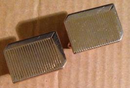 Vintage 1950s Gold Tone Rectangular Etched Line Mens Swivel Post Back Cu... - $17.97