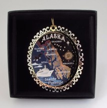 Alaska Inside Passage Colored Brass Ornament Black Leatherette Gift Box - $14.95