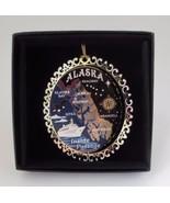 Alaska Inside Passage Colored Brass Ornament Black Leatherette Gift Box - $14.95