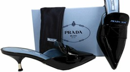 Prada Milano Black Mules Slip On Slides Loafers Shoes 39.5 Kitten Heel - €325,50 EUR