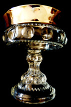 VTG Indiana glass Kings Crown Silve Flash Thumbprint Pedestal Compote Candy Bowl - $23.76