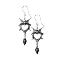Love Bat Earrings Wing Heart Black Crystal Dropper Hooks Alchemy Gothic E425 - $29.95