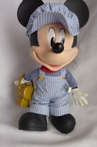 """Rare Disney Store Clubhouse 13"""" Talking Mickey Mouse Train Conductor Plu... - $21.56"""