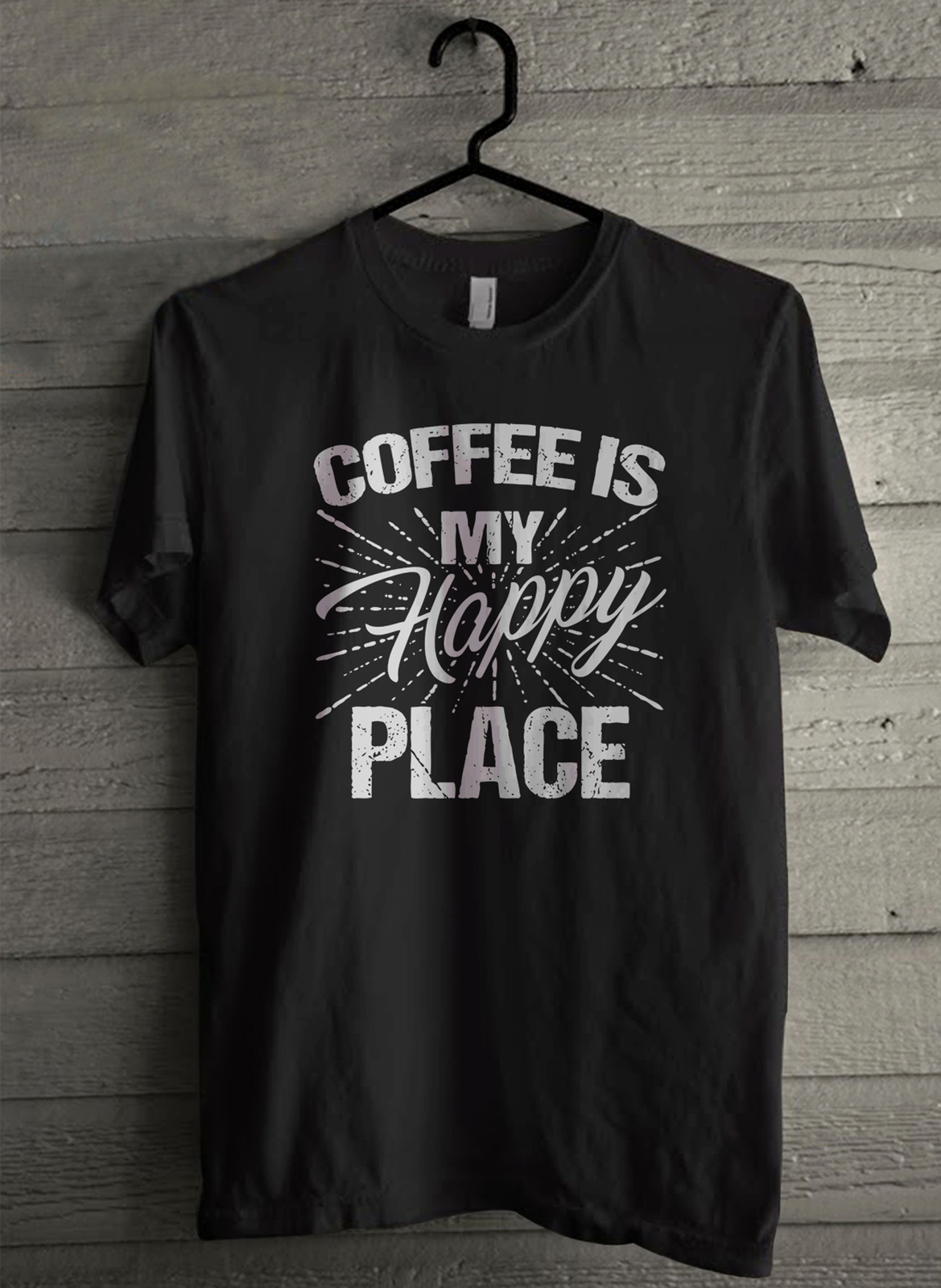 COFFEE IS MY HAPPY PLACE - Custom Men's T-Shirt (1922)