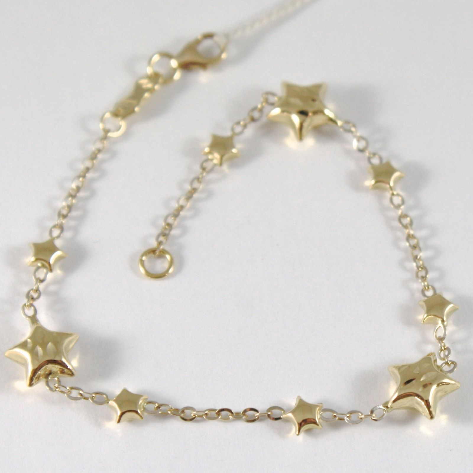 BRACELET YELLOW GOLD WHITE 750 18K WITH STARS ROUNDED, 17.5 CM LENGTH