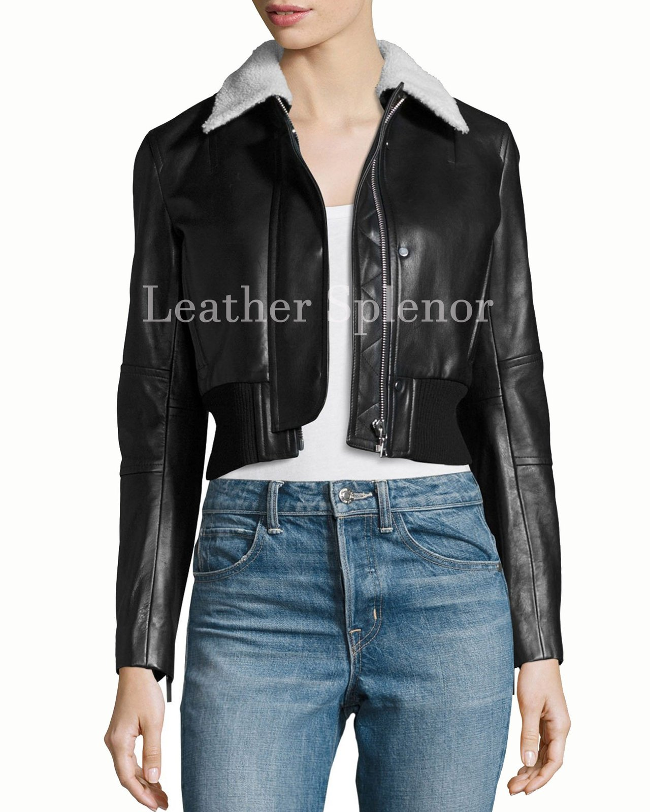 Cropped Women Leather Bomber Jacket