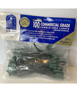 Set of 100 Clear Commercial Grade Christmas Lights Green Wire String Bet... - $24.65