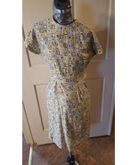 Dress 50s 60s short wiggle style house wife casual yellow gray brown pat... - $35.00