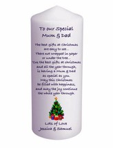 Personalised  Cellini Candle Mum & Dad Tree Poem Stocking Gift Keepsake #1 - $16.77