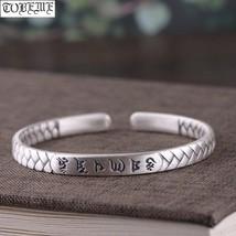 Handmade 100% 999 Silver Lucky Cuff Bracelet Pure Silver Tibetan Six Words Brace - $89.21