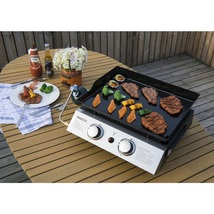 Tabletop Grill Griddle in Black Propane Gas Portable Two Burner Outdoor ... - $89.89