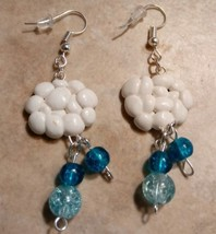 Cute Raincloud Charm Earrings Clay Charms Silver Dangle Wire Bead  - $6.50