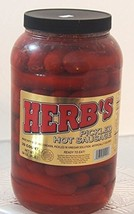 Herbs RED HOT Pickled Sausage 1 Gal. Jar 39 Count Beef & Chicken No Pork  From J