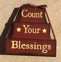 Primitive Wood Stacking Blocks -  72097B - Count Your Blessings Block - €10,88 EUR
