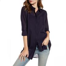 Treasure & Bond Gauzy Tunic Button Up Shirt Womens Size Small Navy Blue - $19.59