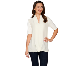 H by Halston Short Sleeve Knit Top with Chiffon Drape Front Color Bone S... - $10.80