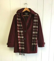 ST.JOHN'S BAY Girl's Jacket with Hoodie & scarf Small Petite Plum Red #J376 - €36,05 EUR