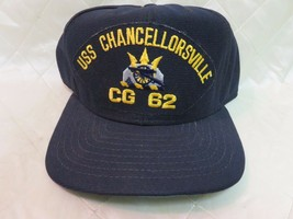 USS Chancellorsville CG-62 Hat Navy Blue Adjustable Hat Military Collectible Cap - £11.68 GBP