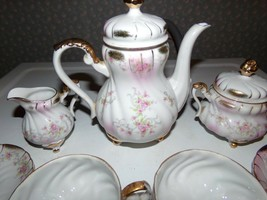 Vintage Lefton China Handpainted Teaset 7 Pc. Floral Roses Footed Gold Details - $84.10