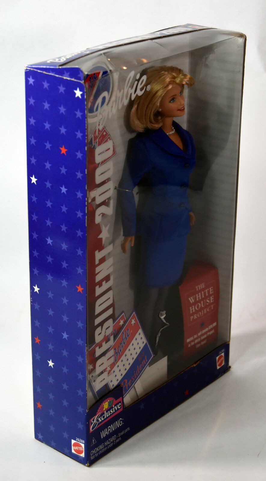 Mattel BARBIE Girls Blonde Doll NIB President 2000 Red Blue Dress White House image 5