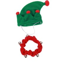 "Elf Hat Jingle Bell Collar for Dog Size Medium 8.75""-10.5"" New Christmas... - $15.83"