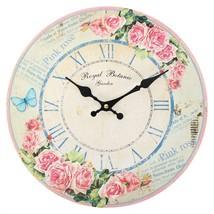 MDF Wall Clock ~ Pink Rose Royal Botanic 1 (28cm) - $18.20