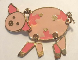 Whimsical Articulated Pink Pig Brooch Pin Gold Tone Setting Hearts - $11.83