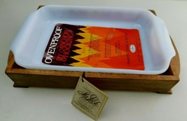 """Fire King """"Green Meadow"""" 1 1/2 Quart Baking Dish With Maleck Wooden Holder NOS - $46.99"""