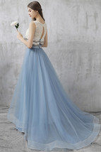 Dusty Blue Floor Length Tulle Skirt High Waisted Dusty Blue Bridesmaid Outfit image 3